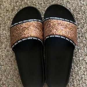 Black and gold pink slippers